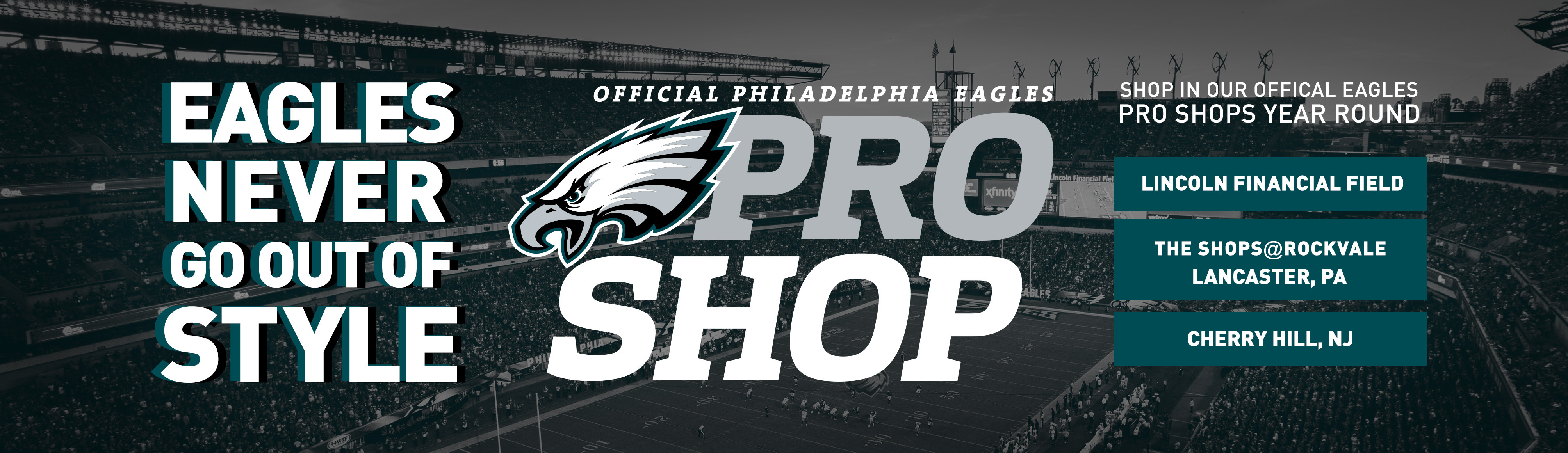 Make sure all of your Eagles merchandise needs are met by visiting us at  one of our three in-store locations  the Eagles Pro Shop at Lincoln  Financial ... f21a1c87ed98